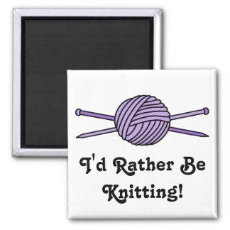 Purple Ball of Yarn & Knitting Needles Square Magnet