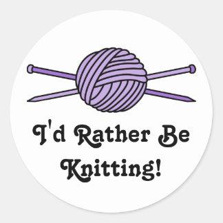 Purple Ball of Yarn & Knitting Needles Sticker