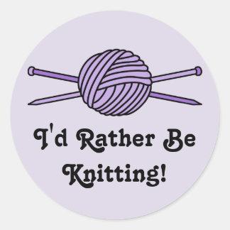 Purple Ball of Yarn & Knitting Needles Round Stickers