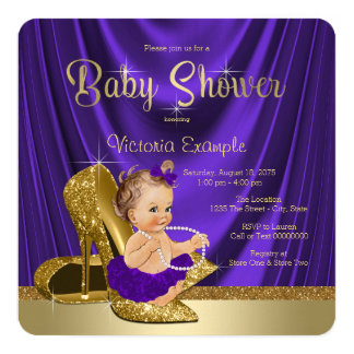 Purple Ballerina Pearls Gold Shoe Baby Shower 13 Cm X 13 Cm Square Invitation Card