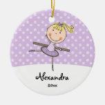 Purple Ballerina Snowflakes Personalised Christmas Round Ceramic Decoration