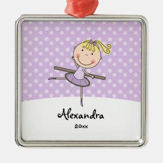 Purple Ballerina Snowflakes Personalized Christmas Silver-Colored Square Decoration