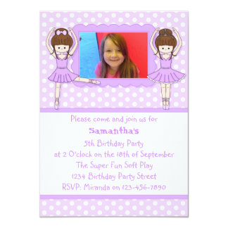Purple Ballerinas Birthday Party Photo Invitation