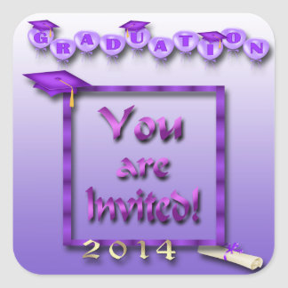 Purple Balloons Graduation Party Envelope Seal Square Sticker
