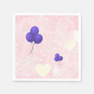 Purple balloons on pink background disposable napkin