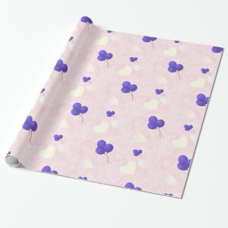 Purple balloons on pink hearts wrapping paper