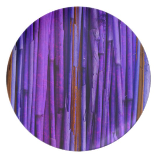 Purple Bamboo Abstract Art Plate