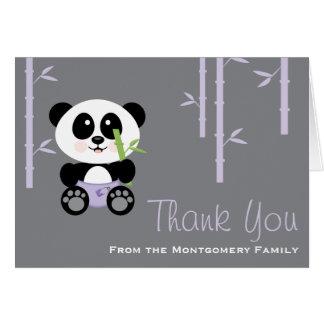 Purple Bamboo Panda Diaper Baby Shower Thank You Card