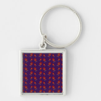 purple barbeque pattern keychain