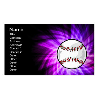 Purple Baseball; Softball Double-Sided Standard Business Cards (Pack Of 100)