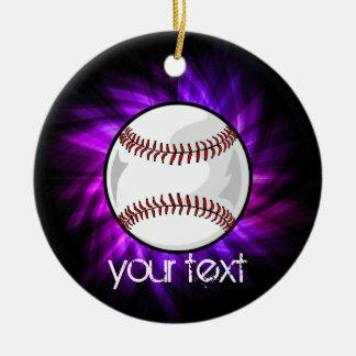 Purple Baseball; Softball Christmas Ornament