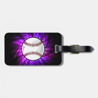 Purple Baseball; Softball Luggage Tag