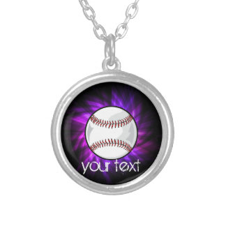 Purple Baseball; Softball Silver Plated Necklace