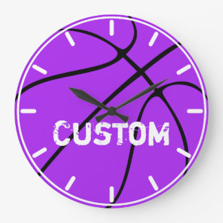 Purple Basketball Décor Custom Wall Clock