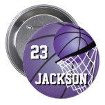 Purple Basketball Design | Personalise 7.5 Cm Round Badge