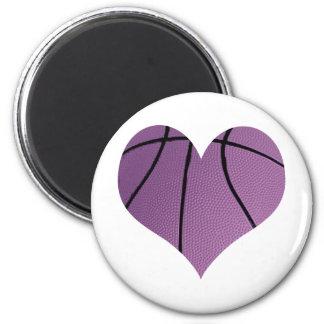 Purple basketball Love 6 Cm Round Magnet