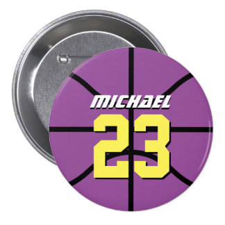 Purple Basketball Sports Team Button Pin
