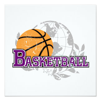 Purple Basketball T-shirts and Gifts 13 Cm X 13 Cm Square Invitation Card