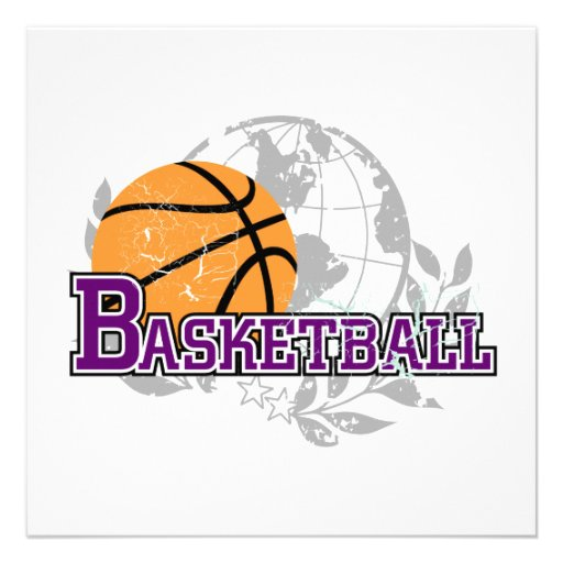 Purple Basketball T-shirts and Gifts Invitations