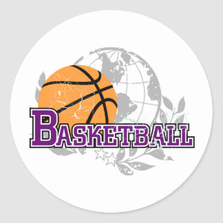 Purple  Basketball T-shirts and Gifts Stickers