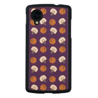 Purple basketballs and nets pattern carved® maple nexus 5 slim case