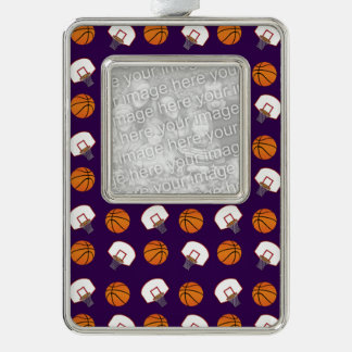 Purple basketballs and nets pattern silver plated framed ornament