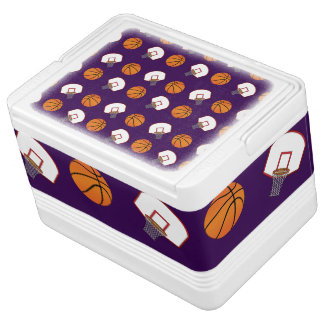Purple basketballs and nets pattern igloo can cooler