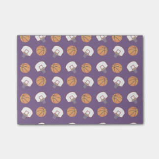 Purple basketballs and nets pattern post-it® notes