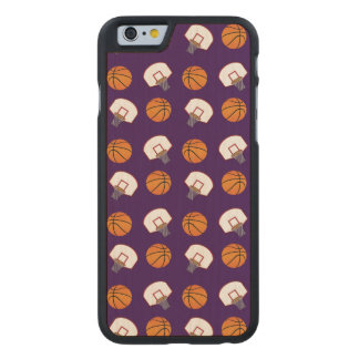 Purple basketballs and nets pattern carved® maple iPhone 6 slim case
