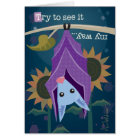 Purple Bat in Sunflower Field Greeting Card