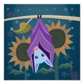 Purple Bat in Sunflower Field Square Art Print