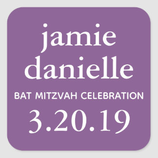 Purple Bat Mitzvah Favor Tag