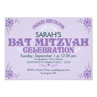 Purple Bat Mitzvah Invitation