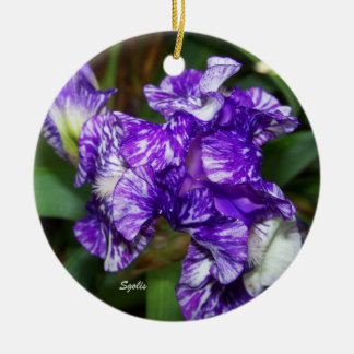 Purple Batik Iris Keepsake Ornament