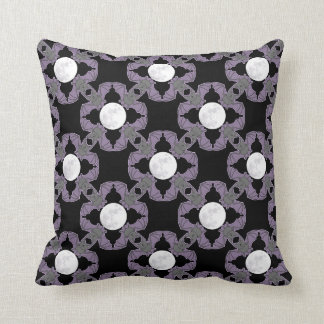 Purple Bats and Full Moons Throw Pillow