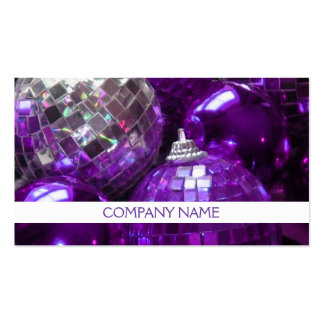 Purple Baubles business card front text white