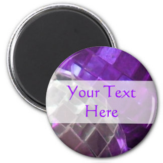 Purple Baubles Your Text mirror ball magnet Magnet