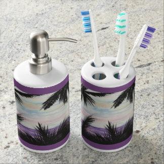 Purple Beach Scene for Bath Bathroom Set