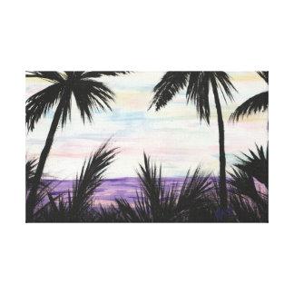 Purple Beach Scene Painting Canvas Print