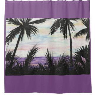 Purple Beach Scene Shower Curtain