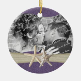 Purple Beach Starfish Photo Christmas Ornament
