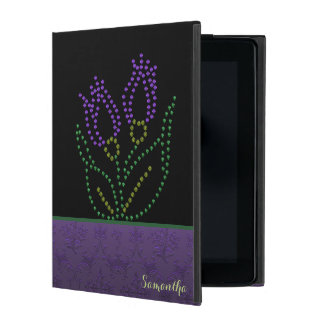 Purple Beaded Flower Custom iPad 2 Case
