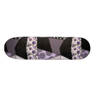 Purple Beautiful Country Patchwork Quilt Skate Board