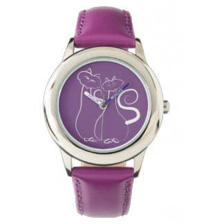 Purple Beautiful Love Sketch Couple Cats Simple Watches