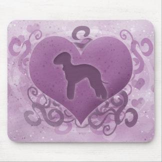 Purple Bedlington Terrier Valentine Mouse Pad