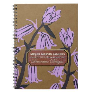 Purple Bell Blossoms Designer Brown Notebook