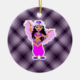 Purple Belly Dancer Round Ceramic Decoration