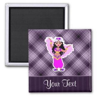 Purple Belly Dancer Square Magnet