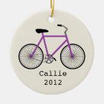 Purple Bicycle Personalised Ornament