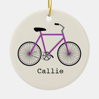 Purple Bicycle Personalized Ornament